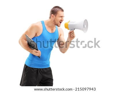 Male fitness coach shouting through a megaphone isolated on white background - stock photo