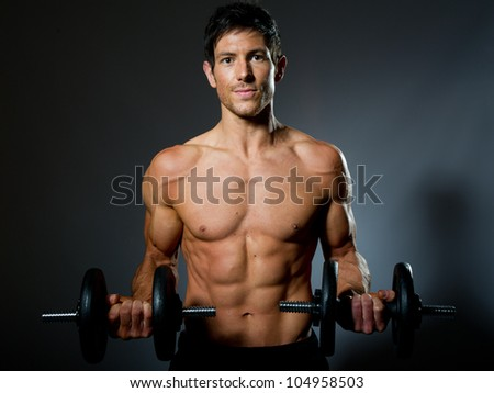 Male fitness madel with great body - stock photo