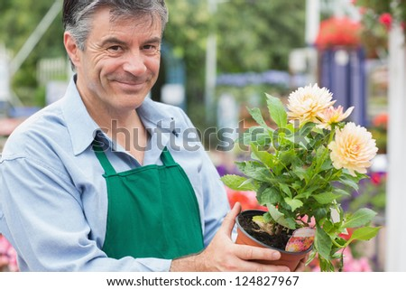 Male florist holding a flower while smiling - stock photo