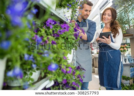 Male florist looking at female colleague using tablet computer in flower shop - stock photo