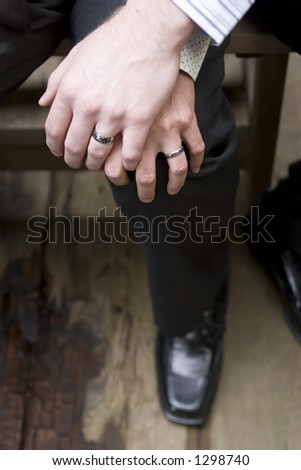 male gay wedding hands - stock photo
