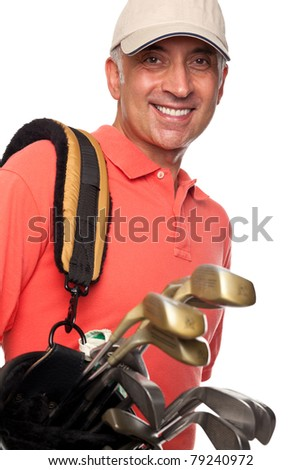 Male golfer carrying his bag - stock photo