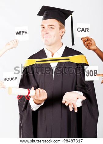 male graduate's wish list - stock photo