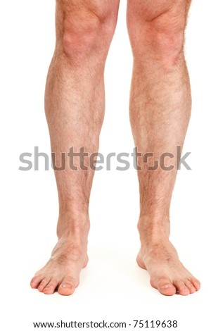 male hairy legs isolated on white background - stock photo