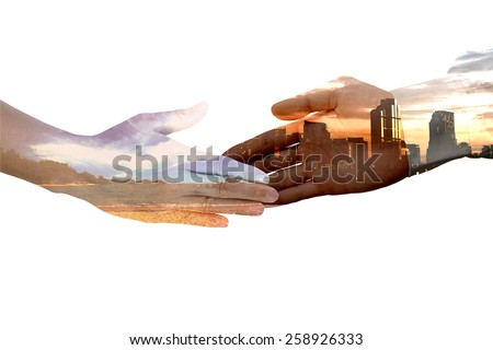 Male hand blend with cityscape silhouette handshake with female hand blend with sea beach concept of land development while preserving environment - stock photo