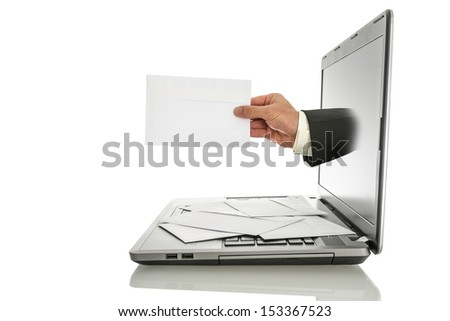 Male hand coming out of laptop monitor offering you an envelope. Isolated over white background. - stock photo