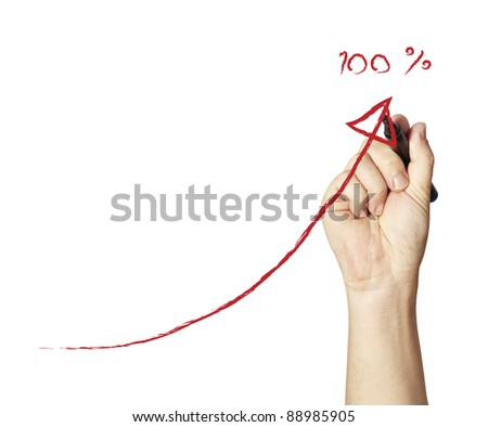 Male hand drawing a chart isolated on white background - stock photo