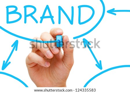 Male hand drawing Brand flow chart on transparent wipe board. - stock photo