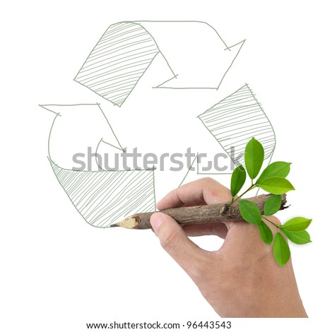 Male hand drawing recycle symbol. - stock photo