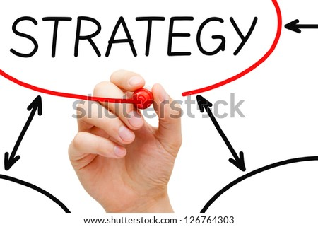 Male hand drawing Strategy flow chart on transparent wipe board. - stock photo