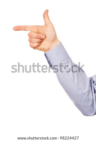 Male hand, gesture direction to the left. Isolated on white background - stock photo