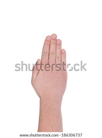 Male hand gesture. Isolated on a white background. - stock photo