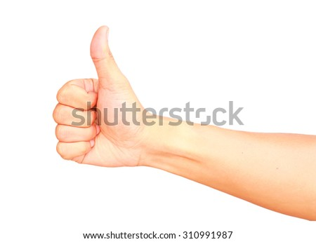 Male hand gesturing show thump up isolated on white background, OK concept. - stock photo