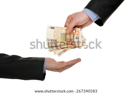 male hand giving money to another one, isolated on white - stock photo