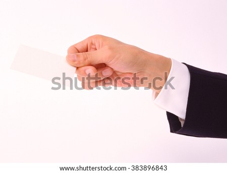 male hand hold blank - stock photo