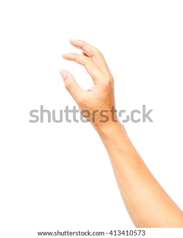 Male hand hold virtual card, credit card or blank paper isolated on white background - stock photo
