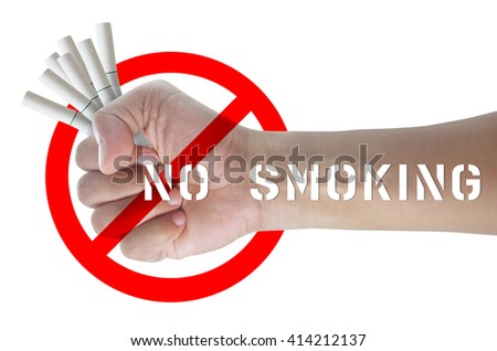 Male hand holding a cigarette, Isolated on white background with clipping path, Concept No smoking. - stock photo