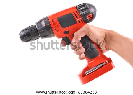 Male Hand Holding a Portable Power Drill - stock photo