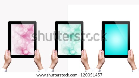male hand holding a tablet with isolated - stock photo