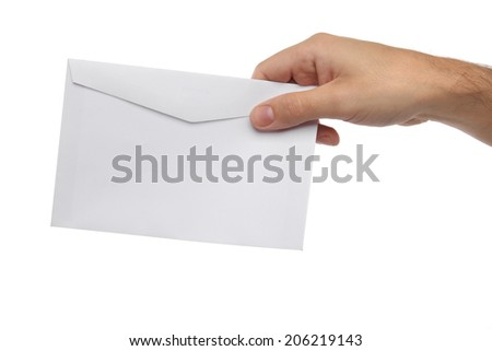 Male hand holding blank envelope isolated on white - stock photo