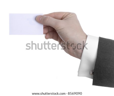 Male Hand holding Business Card - stock photo