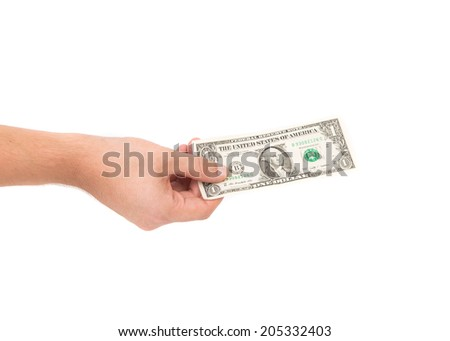 Male hand holding Dollar bill on the white - stock photo