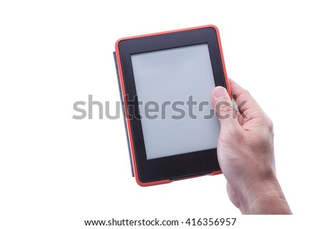 Male hand holding ebook reader in red case against isolated white background - stock photo