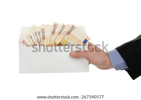 male hand holding envelope with euro banknotes isolated on white - stock photo