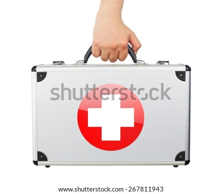 Male hand holding equipment medic luggage first aid isolated white background. - stock photo