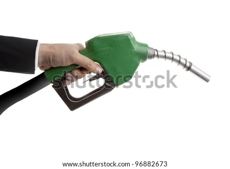 Male hand holding gas nozzle on white - stock photo