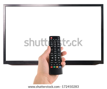 Male hand holding remote control to the TV screen isolated on white  - stock photo