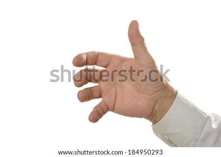 Male Hand holding something isolated on white background - stock photo