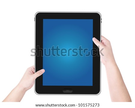 Male hand holding tablet blue screen isolated on white background - stock photo