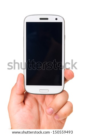 male hand is holding a modern touch screen phone. Screen is cut with clipping path - stock photo