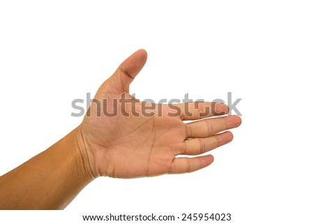Male hand isolate on white background. - stock photo