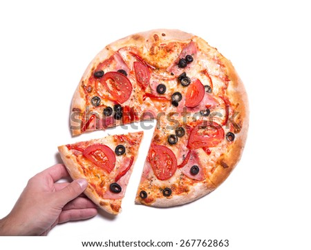 Male hand picking tasty pizza slice, isolated on white background   - stock photo