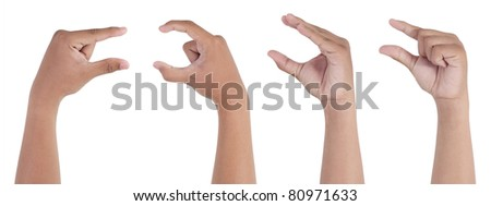 male hand pinching isolated on white background - stock photo