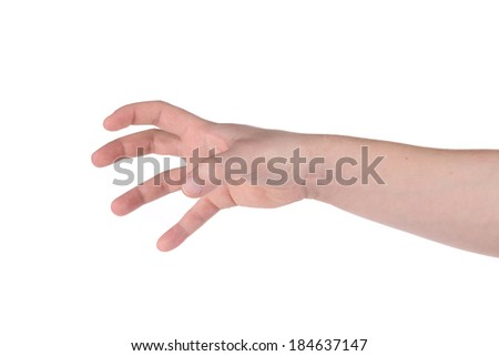 Male hand reaching for something. Isolated on a white background. - stock photo