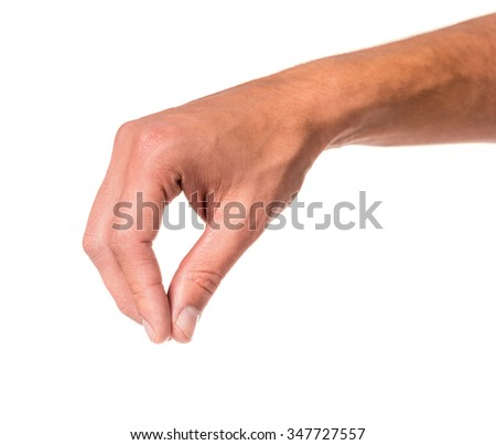 Male hand sign isolated on a white background - stock photo
