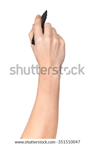male hand with black marker drawing isolated on white background - stock photo