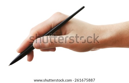 Male hand with pen isolated on white - stock photo