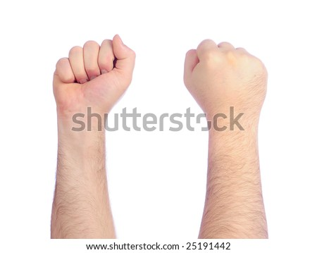 Male hands counting - fist - stock photo