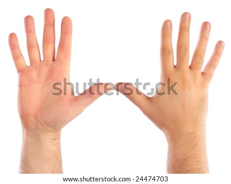 Male hands counting number 5. See also 24467833, 24467836, 24474706, 24474700 - stock photo