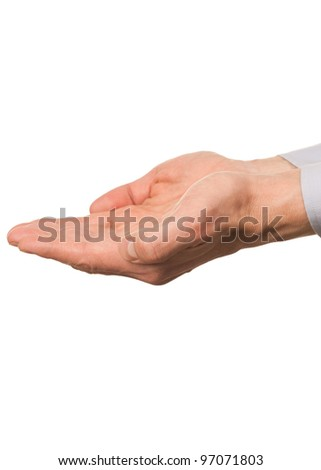 Male hands cupped and empty, isolated on white background - stock photo