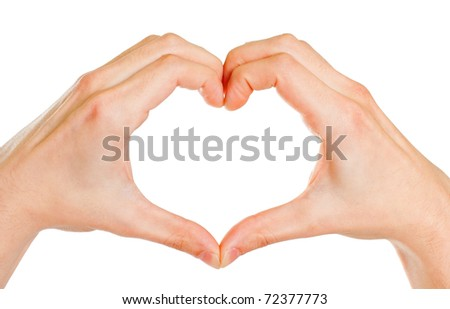 Male hands forming a heart, isolated on white. - stock photo