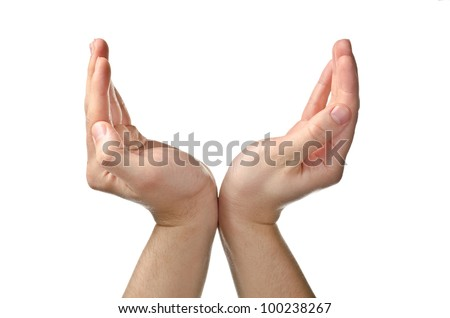Male hands holding something. Isolated on white. - stock photo