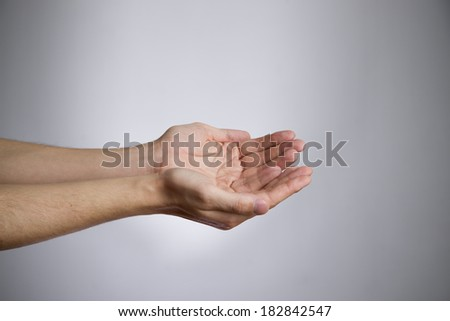 Male hands on a gray background. Empty outstretched palm. Copy space - stock photo