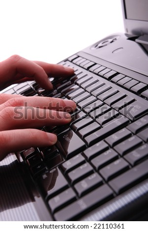 Male hands on laptop - stock photo