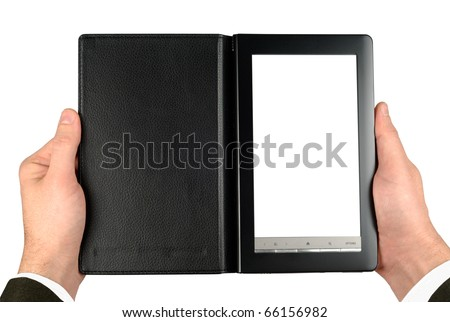 Male hands suit dressed holding electronic book isolated with clipping path over white - stock photo