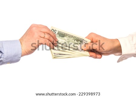 Male hands transaction took place isolated on white background - stock photo